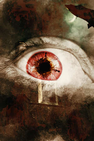 eye red: Dark horror photo on a fear splattered eye overlaid on scary asylum background. When souls escape Stock Photo