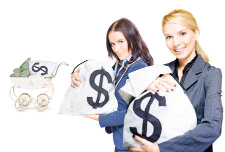 speculating: Wealthy young business women holding money bags with a baby pram in background to represent investment nurturing, financial planning and business development