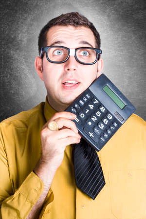 sums: Comical portrait of a stereotypical accounting clerk wearing nerdy glasses holding calculator when working out large financial sums