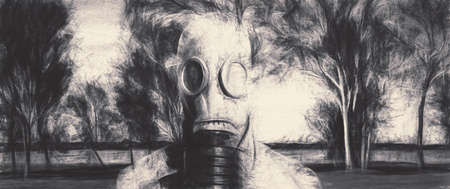 gasmask: Distorted charcoal sketch of a man wearing nuclear gas mask in a grim forest location. Global warming warning