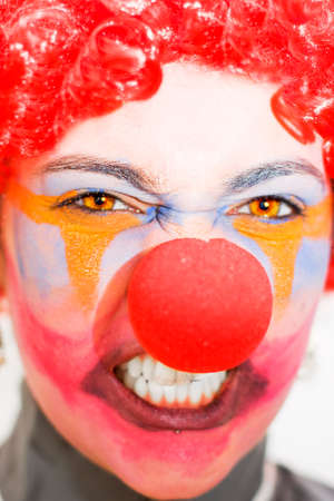 rages: Face Of A Entertainer Clown Throwing A Fit Of Red Clown Rage Isolated On A White Background Stock Photo