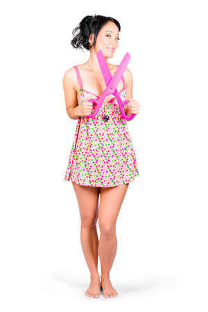 cut price: Full body portrait of a gorgeous young retail girl with large pair of scissors. Cut price sale