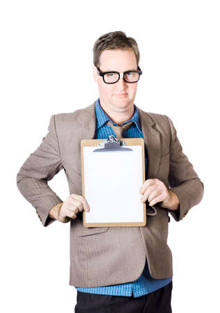 statistician: Businessman collecting survey stats and figures on empty space clipboard. Statistician concept Stock Photo