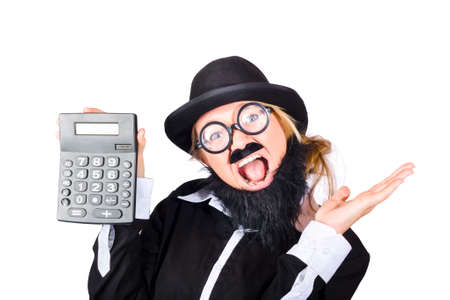 disguised: Woman in disguise wearing black bowler hat, black jacket, fake mustache and beard holding electronic calculator posing as tax accountant Stock Photo