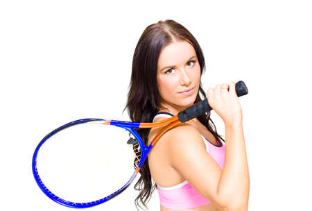 leisurely: Isolate Photograph Of A Sport Fitness Woman Holding A Tennis Racket During A Leisurely And Recreational Activity Of Fun, Room For Text On Background