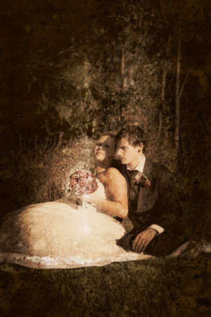 olden day: Bride And Groom With Serious And Pensive Expressions Look Off Into The Distance As If They Are Lost In Thought About The Mysterious And Unsure Future Of Their Marriage