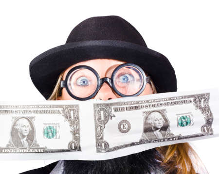 disguised: Woman disguised as businessman with dollar bills in front of face, financial success concept on white background