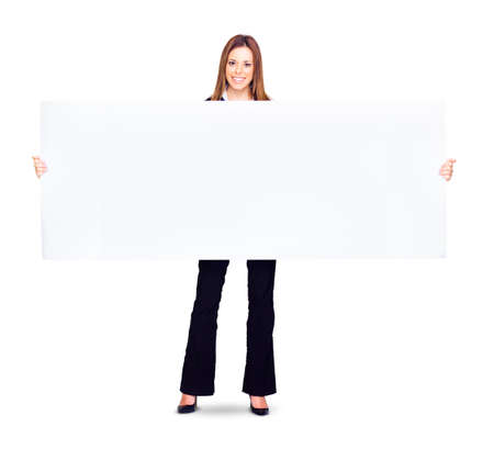 discounting: Stretch Your Imagination With A Blank Billboard As Ad Copyspace For Huge Advertising With Business Woman Holding Large Billboard With Massive Marketing Space