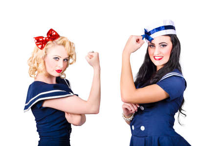 rival: Shipshape pin-up sailor girls showing physical strength with all muscles out. Rival deck hands