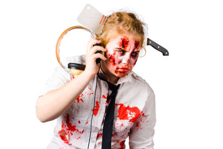 crazed: Cult crazed zombie girl listening to heavy alternative music with retro headphones. Anthem of the zombie apocalypse