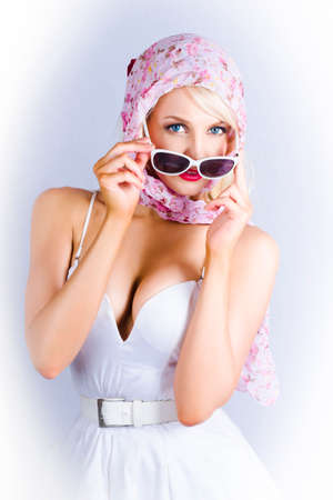 waist belt: Classic Retro Fifties Photograph Of A Gorgeous Blond Pin-up Girl Wearing White Dress With Matching Waist Belt, Sunglasses And Headscarf