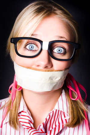 gagged: Shocked Geeky Nerd Traumatised During A Hostage Siege Whilst Being Kept Quiet With Taped Mouth