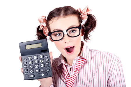 depiction: Excited Female Business Person Holding Accounting Calculator In A Depiction Of Cost Cutting On White Background