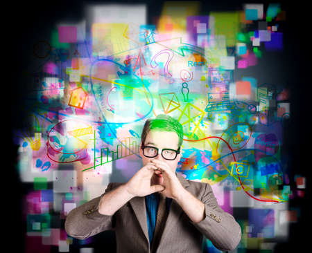 internet technology: Social media man making internet marketing communication on digital technology background with colourful illustration icons Stock Photo