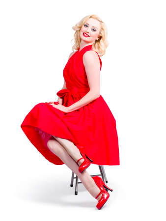 red dress: Isolated full-length portrait of a lovely woman in romantic red dress. Retro fashion model