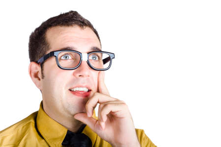 inventing: Brainy man wearing dork glasses thinking with enlightened expression when inventing a solution