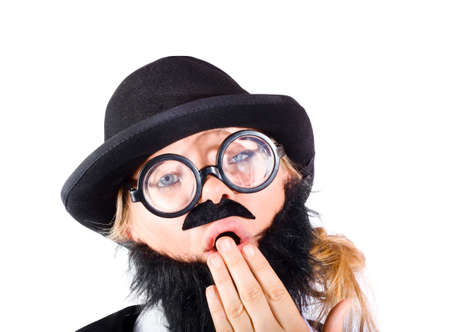disguised: Yawning woman disguised as businessman with beard and hat, white background Stock Photo