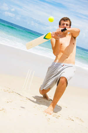 cricket stump: A Beach Cricketer Slogs 6 Runs Off This Cracking Hit