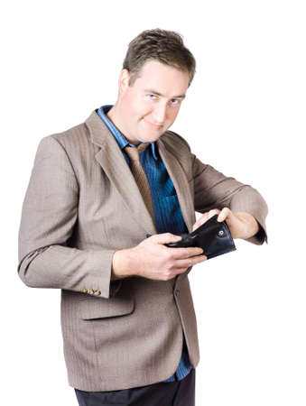 notecase: Portrait Of Happy Businessman Holding Black Leather Wallet On White Backgrounds