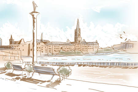 landscape architecture: Fine art summer landscape sketch of historic architecture, Riddarholmen Church in the old town of Gamla Stan in Stockholm, Sweden