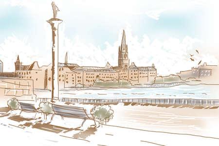 fine art: Fine art summer landscape sketch of historic architecture, Riddarholmen Church in the old town of Gamla Stan in Stockholm, Sweden