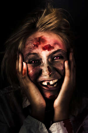 reanimated: Funny Black Horror Image Of A Waking Zombie With Bed Hair Laughing On The Mourning Of The Zombie Apocalypse
