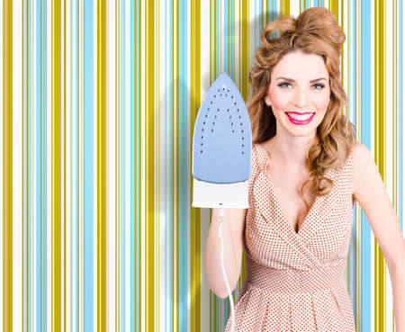 Happy retro housewife doing ironing with smile, home interior wallpaper background
