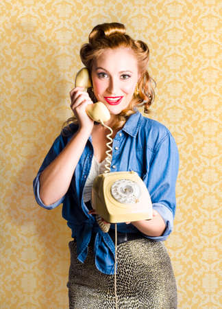 fifties: Fifties Classic Portrait Of A Vintage Woman Talking On The Old Fashioned Yellow Phone