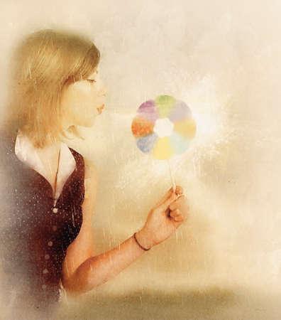 schöpfung: Spirituellen und mystischen Kunstwerk von eine magische Frau, die ihre Seelen Energie zu kanalisieren der Bewegung des Lichts zu machen Funken in den Auf- und Ausbau, wenn Energie zu manipulieren Lernen