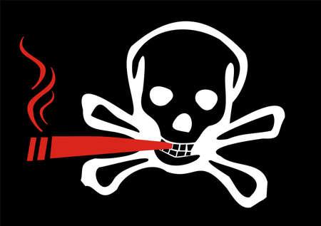 riesgo quimico: Fumador representado con una ilustraci�n de un cr�neo y del Foto de archivo