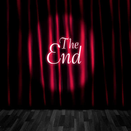 ending: Theatre Curtain Close Or Stage Curtain Call In A Depiction Of A Movie Ending Screen At A Vintage Cinema