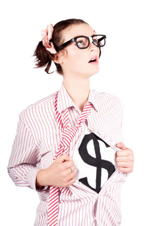 strong growth: Isolated Young Brave Strong Business Woman Thinking About Financial Growth In A Money Leadership Concept Stock Photo