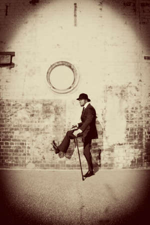 treading: Vintage Sepia Stylised Image Of A Man From The Old Days Stepping Into The Past