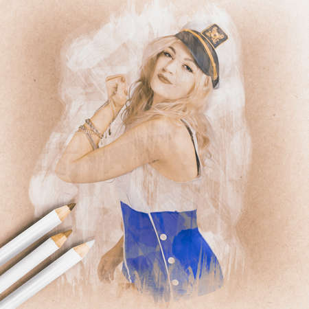 colour pencil: Creative water colour illustration of a strong nautical sailor pin-up girl flexing her bicep muscles while holding silver bracelets and chains. Fine art pencil design