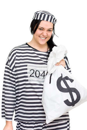 dishonest: Convict Laughs All The Way From The Bank While Holding Money Bags Full Of Cash Proving Crime Does Pay Stock Photo