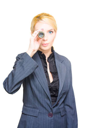 monocular: Job Search Concept Sees A Worker Woman Looking Front On Through A Monocular In A Hunt And Scout For A Career Vacancy And Working Employment Opportunities