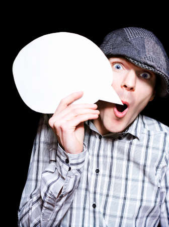 newsflash: Retro Paperboy Making Speech Bubble Announcement When Selling News On Dark Copyspace Background Stock Photo
