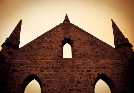 arthur: Ruins Of The Roofless Top From The Convict Built Port Arthur Church, Tasmania, Australia Stock Photo