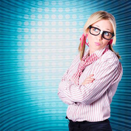 inside technology: Advanced marketing woman standing inside technology tube looking at ultramodern blank advertising copyspace