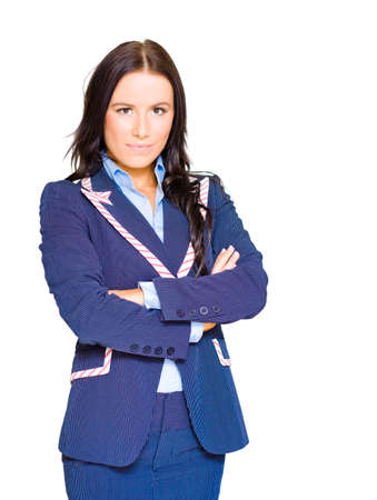 authoritative woman: Assertive Confident And Firm Female Business Person Standing Arms Crossed In A Half Body Isolated Studio Portrait On White Background