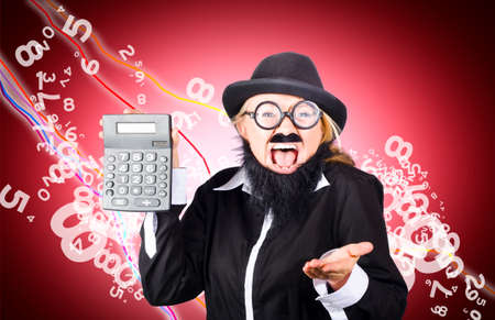 negative returns: Wall street financial investor looking lost with calculator in hand and falling price index graph behind. Stock market crash concept, in the red Stock Photo