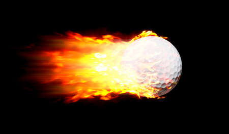 scorch: Flying Golf Ball In Motion Shooting Quick In A Fire Ball Or Flame Ball Isolated On Black Stock Photo