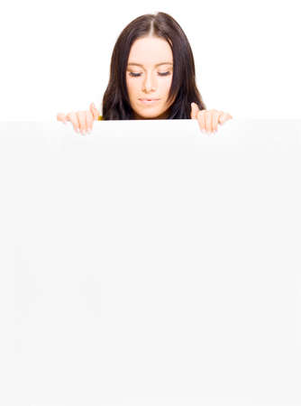 eyes downcast: Young Pretty Business Lady Presenting A Massive Empty Shopping List Or To Do List With Text Copy Space In A Stock Inventory Ad, Isolated On White Background