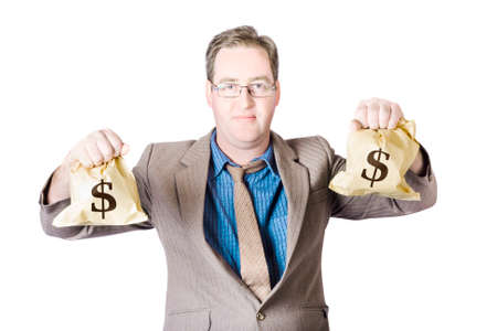depiction: Man holding dollar sign money bags on white background in a depiction of a tax return saving Stock Photo