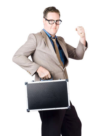 briefcase: Successful Businessman With Briefcase Clenching His Fist On White Background