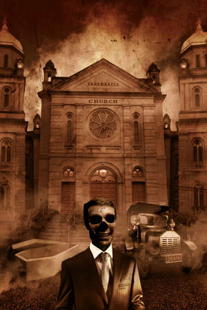 mortician: The Funeral Director Stands As Dead As His Clientele In Front Of A Hearse, Open Casket and Church Tabernacle Stock Photo