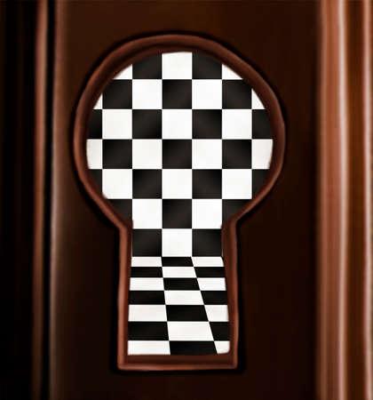 latchkey: Keyhole hand drawn illustration with black and white interior art background