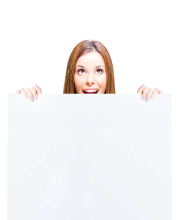 white poster: Surprised Shocked Business Marketing Woman Holding Blank On White Sign, Empty Notice Or Clear Board With Copyspace In A Cute Funny Sales And Advertising Concept