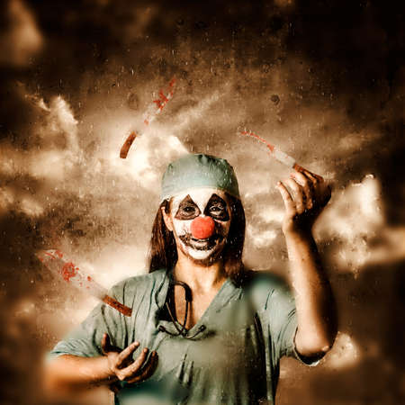 probability: Creative fine art photo of an evil surgeon clown juggling bloody knives outside in the rain. The game of probability and chance in surgery Stock Photo