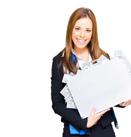 thriving: Isolated Studio Portrait Of A Rich Successful Business Woman Smiling With Money Briefcase After A Thriving Booming And Lucrative Business Venture, On White Stock Photo